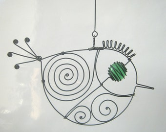Another Small Green-Eyed Wire Bird Sculpture