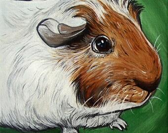 Custom Guinea Pig Portrait 6x6inch Original Painting Acrylic Gift Art Pet Portrait