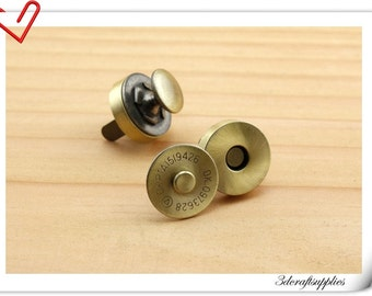 18mm Anti bronze RIVET Magnetic Snap, magnetic snaps Closure - Pack of 20 sets F69