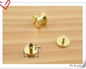 9mm x 4mm Gold screws rivets Chicago screw/Concho screw 20sets H87