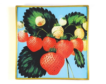 Strawberry Seedlings decoupage glass tray
