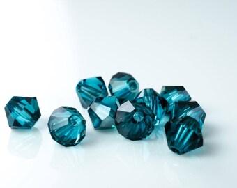 Indicolite Satin Bicone Beads. Swarovski Crystal Bicone. Indicolite Blue Crystal.