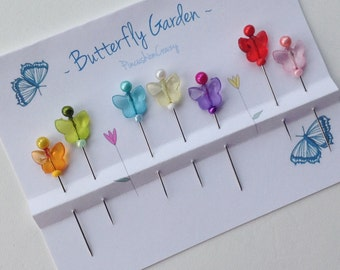 Butterfly Garden Pins - Fancy Sewing Pins - Gift for Quilter - Pincushion Pins - Sewing Accessory - Girlfriend Gift - Decorative Sewing Pins