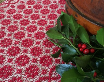 Cherry red colonial overshot handwoven table topper