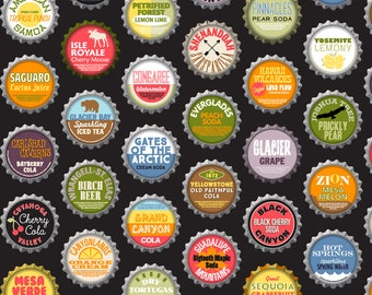 National Parks Fabric - Soda Nation (Cola) By Pennycandy - Kitsch bottle cap Cotton Fabric By The Yard With Spoonflower