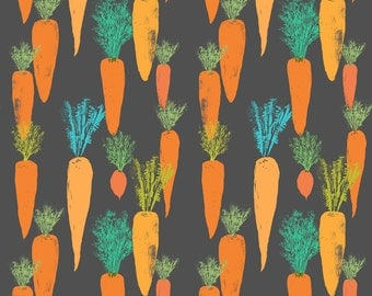 Watercolor Carrots Fabric - Carrots By Canigrin - Summer Veggie Carrot Cotton Fabric By The Yard With Spoonflower