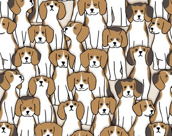 Bunch of Beagle Fabric - 101 Beagles By Analinea - Beagle Pet Portait Cotton Fabric By The Yard With Spoonflower