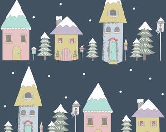 Winter Village Fabric - Winter Village By Amandacallcott - Winter Village Nursery Decor Cotton Fabric By The Yard With Spoonflower