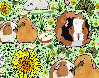 Guinea Pig Fabric - Guinea Pigs By Nemki - Guinea Pig Cotton Fabric By The Yard With Spoonflower