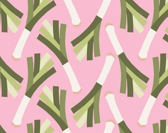 Vegetable  Leeks Fabric - Poireau L By Nadja Petremand - Leek Veggie Kitchen Decor Cotton Fabric By The Yard With Spoonflower
