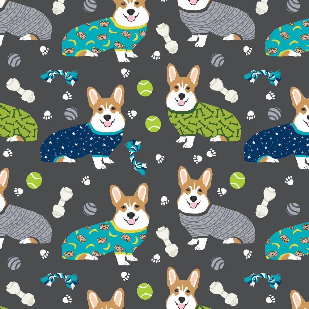 Corgi Fabric Corgis In Pajamas Fabric By Petfriendly Corgi