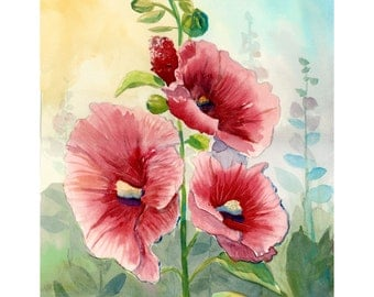 Hollyhock PRINT watercolor Painting  Landscape Floral flowers flower  pink Giclee Reproduction VARIOUS SIZES