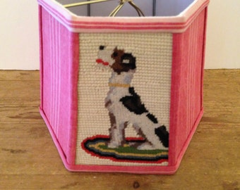 "Dog Needlepoint Lamp Shade, Red Lampshade in French Ticking, Small Lampshade 6""t x 8""b x 6"" high, clip top, Too Cute for words, Very Happy!"