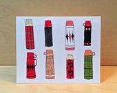 Thermos greeting card - hand drawn vintage thermos by rachelink - set of 8 - READY TO SHIP