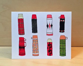 Thermos greeting card - hand drawn vintage thermos by rachelink