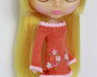Neo BLYTHE - Tiny Flowers Sweater Dress - Tangerine Pink - Limited