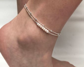 Pearl Anklet, Double Chain Sterling Silver Anklet, Satellite Chain Anklet