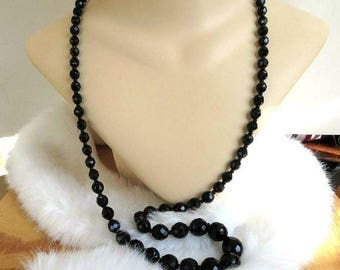Black Crystal Beads Necklace Vintage Single Strand Graduated