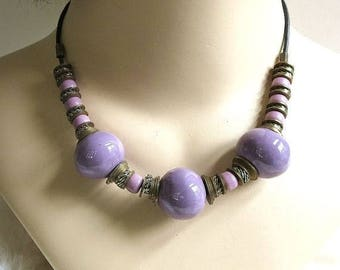 Purple Glass Necklace Metal Beads Vintage Ethnic Boho