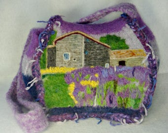 Felted Purse, Felted Handbag, Lavender Art, Flower Art, Lavender Farm, Needle Felt Flower