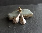 ON SALE SALE - White-Wash Patina Drop Earrings - Stepped Teardrop, Textured Gold Brass, Handmade Boho Jewellery