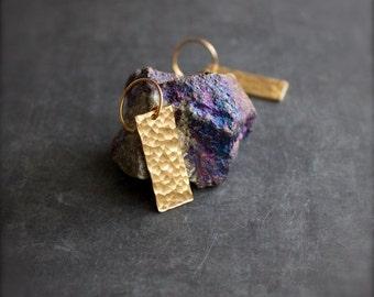 ON SALE Gold Brass Dangle Drop Earrings Hammered Rectangle Geometric Modern Boho Jewellery