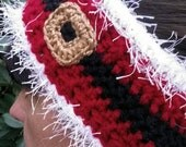 Crochet Ladies or Teens Holiday Headband Earwarmer,  Santa Claus With Belt Buckle And Fluffy Edge.  Available Custom Made All Sizes.