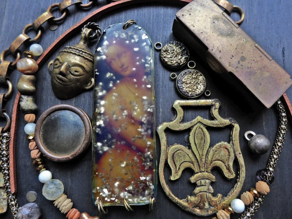 Rustic resin inspiration kit- bead soup lot assortment- Dark Woman