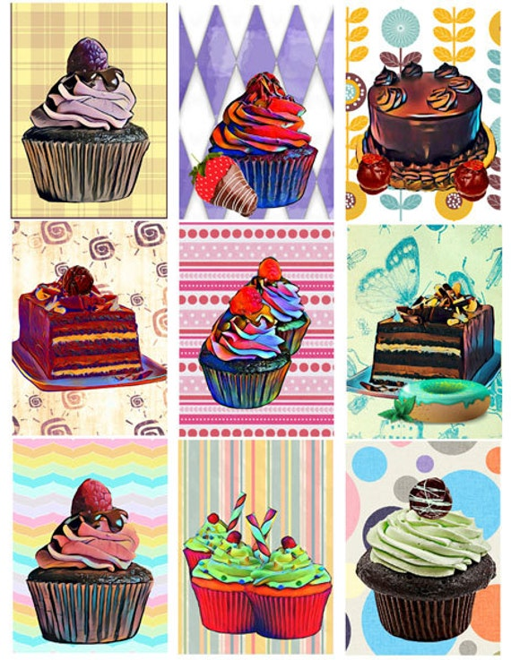cakes cupcakes printable art Digital download collage sheet 2.5 x 3.5 INCH kitchen art printables food art dessert graphics image chocolates