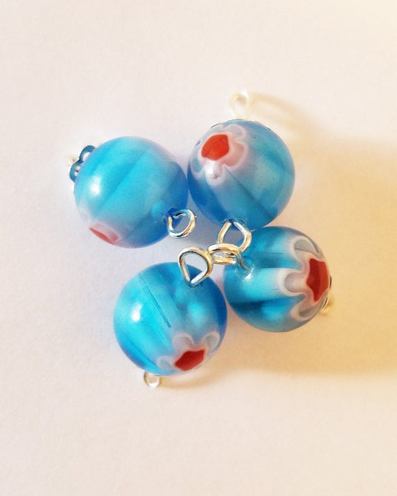 blue glass drop charms bead pendants 12mm red flower beads jewelry making supply