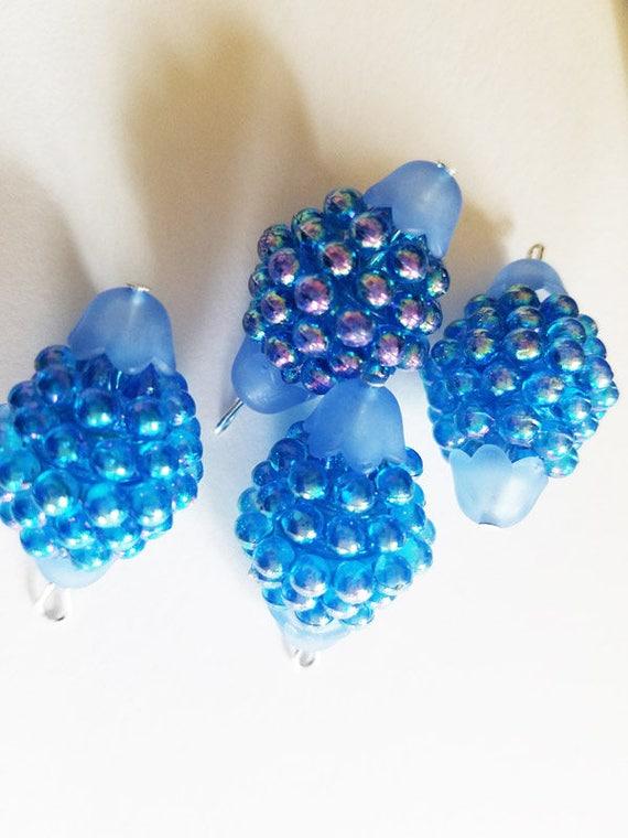 blue Acrylic Raspberries Beads bubble bead drops berry bead charms pendants 4 pc acrylic big  aurora borealis beads