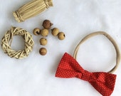 Baby girl bow nylon headband red white mini dots, newborn toddler child head scarf hair wrap headband baptism wedding photo prop shower gift