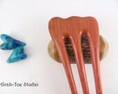 Hair Fork ,3 Prong Mini Threnody Long, Hairfork, Pink Ivory Wood Hair Fork, Gifts for her, Handmade, Grahtoe Studio,Wood Hairforks,Hair Pin