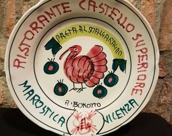 Vintage Italian Ceramic Solimene Vietri 1981 Buon Ricordo Restaurant Plate - MAROSTICA, VICENZA