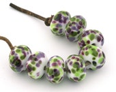 Green and Violet Handmade Lampwork Glass Beads (8 Count) by Pink Beach Studios SRA (2625)