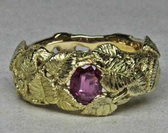 Natural Pink Sapphire in 18K Silver Birch Leaf Band Size  7