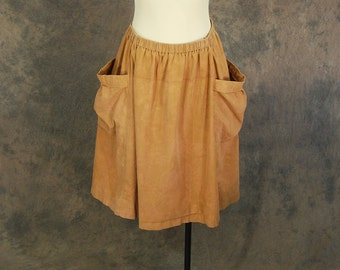 vintage 80s Midi Skirt - 1980s Terracotta Minimalist Skirt Huge Pocket Skirt Brown Cotton Festival Skirt Sz M L