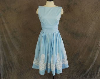 vintage 50s Dress - Lace Border Sundress - 1950s Blue Cotton Sun Dress Sz S