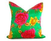 Pink Bohemian Pillows, Pink Green Pillows, Floral Pillows, Satin Pillow, Silk Cushion Covers, Neon, Pink Pillows, Vintage Pillows, 16, 18x18