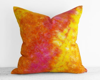 Pink Orange Yellow Pillow Covers, Pink Watercolor Pillows, Pink Orange Cushions, Boho Chic Pillow, Ombre Toss Pillow, Whimsical 18x18 20x20