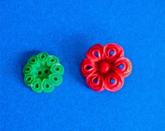 2 Vintage Buttons 1 Red and 1 Green Christmas Buttons