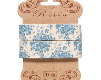 Tilda Ribbon, Audrey Blue Ribbon part of Tilda's Pardon My Garden Collection, 3 metres of 20 mm wide pure cotton ribbon