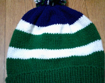 Hand Knitted Green Navy White Hat with pompom, fits age 6 to Adult