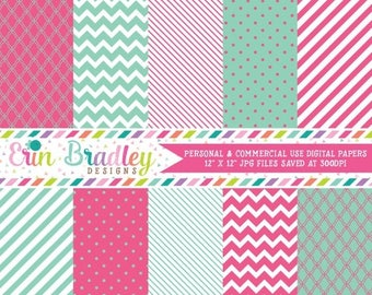 50% OFF SALE Commercial Use Digital Paper Pack Quatrefoil Chevron Striped & Polka Dotted Patterns