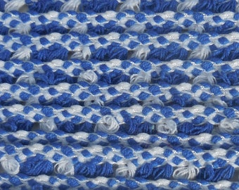 "4.5 Yards Blue & White Yarn Fringe Trim - 3/8"" Wide - Team Spirit - Hippie - Boho - Vintage 1960s 1970s - New on Card - Cute, Woven, Retro"