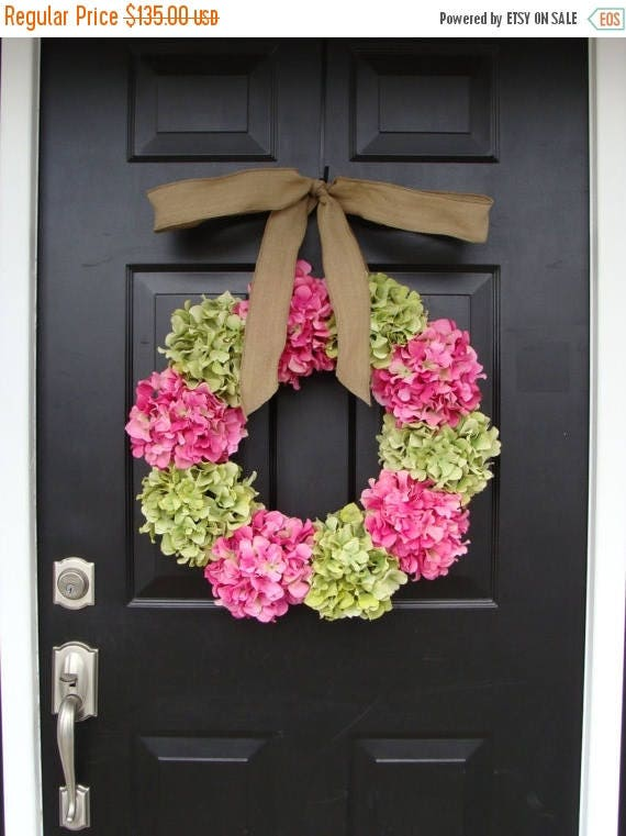 SPRING WREATH SALE Custom Hydrangea Wreath- Summer Wreath- Spring Wreath- Choose your ribbon and Hydrangea colors
