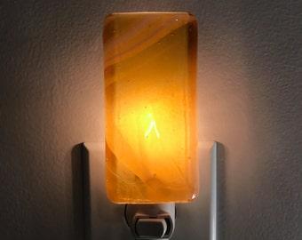 Glass Night Light - Amber Yellow and Cream Fused Glass Handmade Night Light, Kitchen, Bathroom, Housewarming Gift, Lighting, Room Decorating