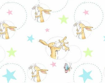 Children's Fabric, Guess How Much I Love You Cream/Multi Fleece 60 inches wide