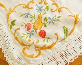 Embroidered Tablecloth, Needlework Tablecloth, Gold Tablecloth, Fruit Tablecloth, Pear Cherries Tablecloth