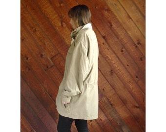 Khaki Convertible Hooded Rain Trench Jacket - Vintage 80s - XL